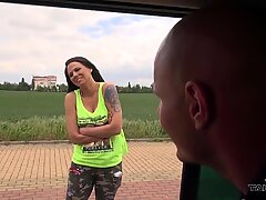 Busty running black-haired persuaded to enter van where fucked by horny stranger