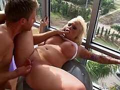 BBW blonde bombshell Angel Vain fucks at the GYM