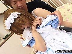 Young Jap guy pulls down the panties of Iruka Sakana
