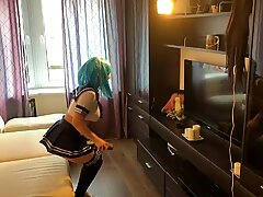 anime college girl having fun after college with a fuck stick and a real dick