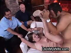 Chubby housewife cheats in front of hubby