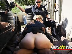 Milf cops make artist bang their horny cunts in a lonely alley