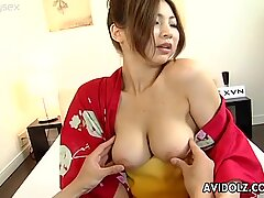 Buxom Japanese babe Kousaka Anna gets her tits squeezed and then she is fingered intensively