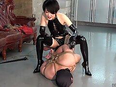 Japanese Femdom Facesitting and Bondage Whip Training