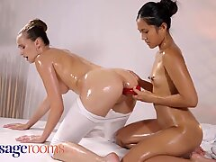 Massage Rooms Cute Asian May Thai shares dildo with Czech teen Stacy Cruz