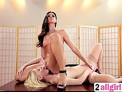A sexy blonde assistant Charlotte must lick her hot boss India Summer's pussy