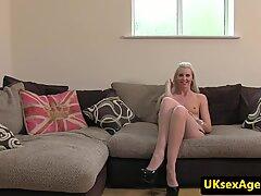Stockinged UK babe facialized at sexaudition