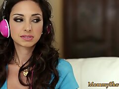 Busty les milf pussylicked by dildoing babes
