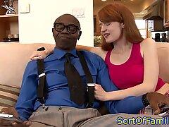 Redhead stepteen cockriding BBC before bj