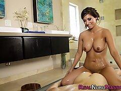 Busty lesbian masseuse