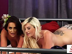 Naughty voyeur MILF duo undress giving JOI