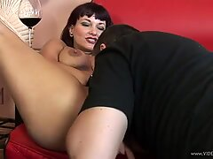 Sumptuous Carrie Ann throat fucks this hard skin flute