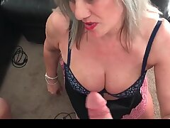 Busty MILFs sucking massive dick in POV video