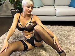 Horny inked MILF Tanya Virago masturbating and squirting with orgasm