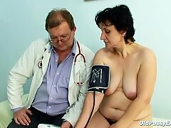 Old Miriam doctor gyno speculum pussy checkup on gynochair