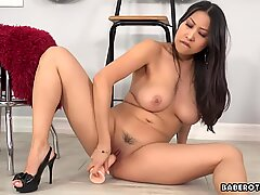 Solo chinese dark-haired, Sharon Lee is delicately masturbating, in 4K