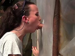 unexperienced young cougar Gloryhole Blowjob&Deepthroat Cumshot by Sylvia Chrystall